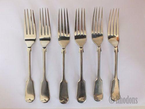 Fiddleback Pattern Dessert Forks, 6.75