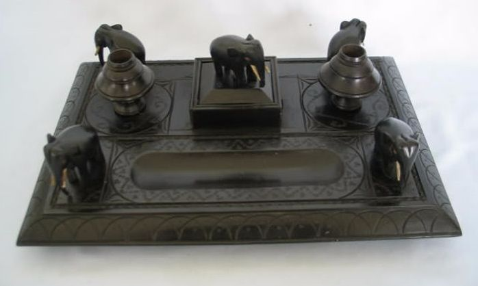 Victorian Carved Ebony Wood Elephant Desktop Stand, Circa Late 1800s