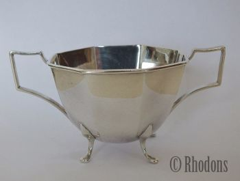 Silver Plate Sugar Bowl, Early 1900s Art Deco Design