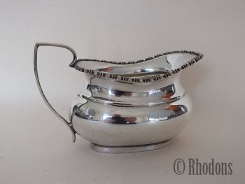 Silver Plate / EPNS Milk Jug / Creamer, Beaded Decoration To Rim