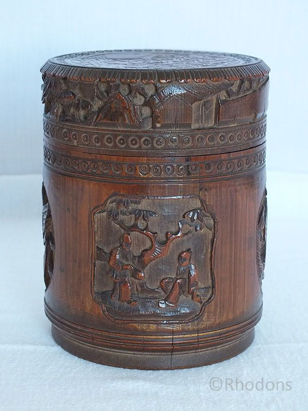 Antique Chinese Carved Bamboo Pot, Brush Pot With Lid, Victorian / Edwardian era - Circa Late 19th / early 20thC