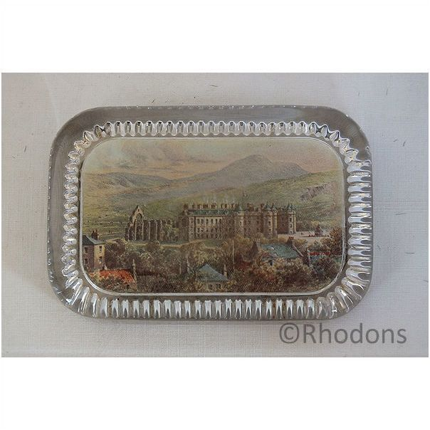 Antique Glass Desktop Advertising Paperweight. W R & S Ltd Reliable Series Photographs, Holyrood Palace