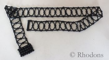 Victorian Mourning Costume Black Bead Belt & Buckle, French Jet / Glass