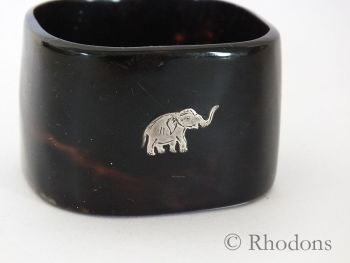 Napkin Ring, Faux Tortoiseshell, Silver Metal Elephant Motif