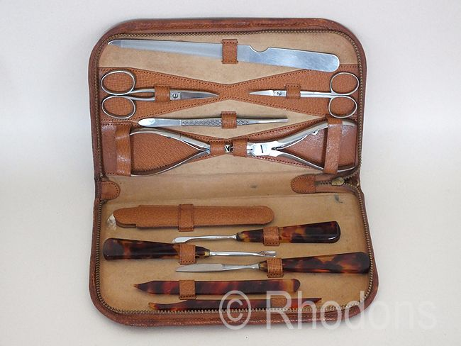 Manicure & Pedicure Set In Leather Case, Travel Wallet, Circa 1950s