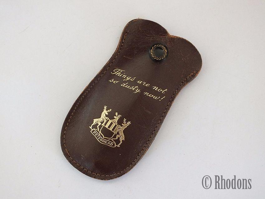 Travel Clothes Brush / Leather Case, Souvenir Of Peterhead