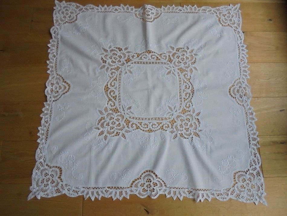 Tablecloth, White Work Embroidery Linen & Lace.