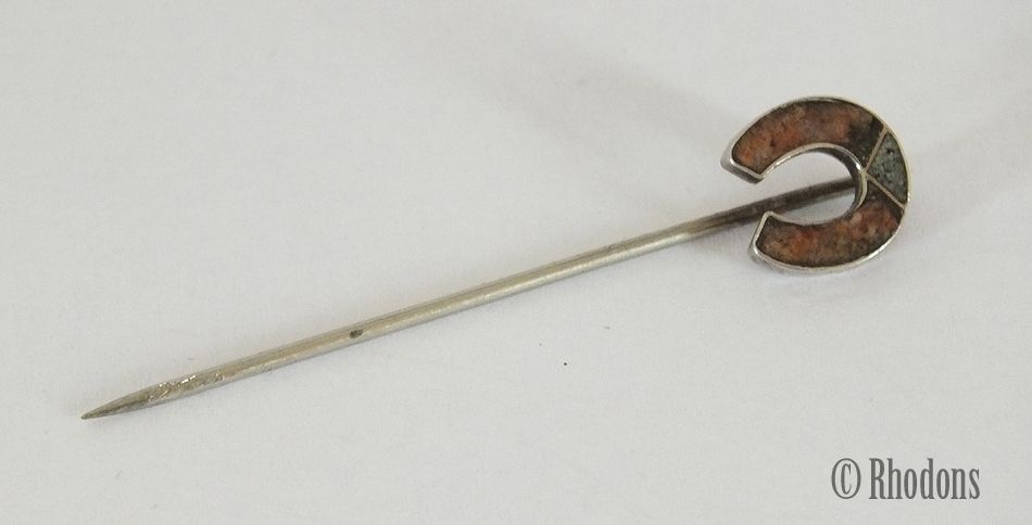 Horseshoe Stick Pin / Lapel Pin / Scarf Pin, Scottish Agate Stones
