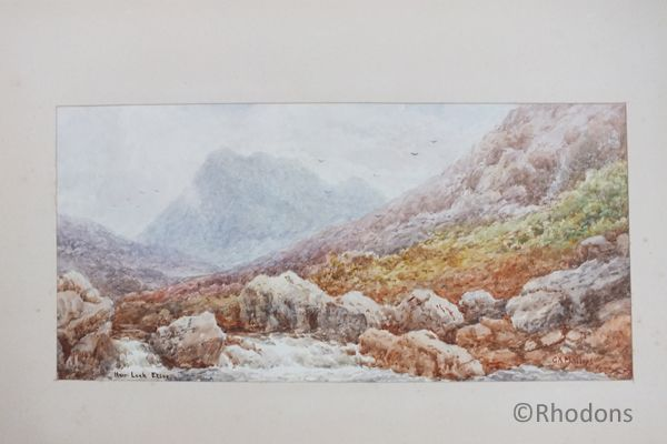 Victorian Watercolour Painting, View Near Loch Etive Argyll & Bute, Scotland. Signed