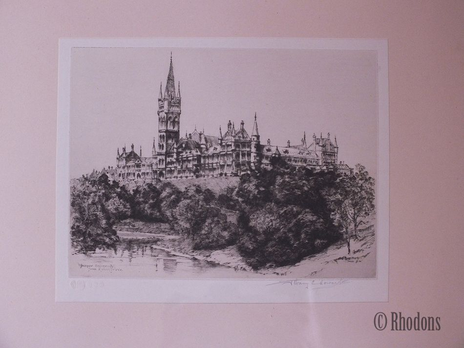 Glasgow University From Kelvingrove, Artist Signed Etching By Albany E Howarth