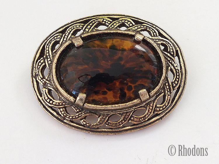 Miracle Brooch, Faux Tortoiseshell Cabochon & Gilt