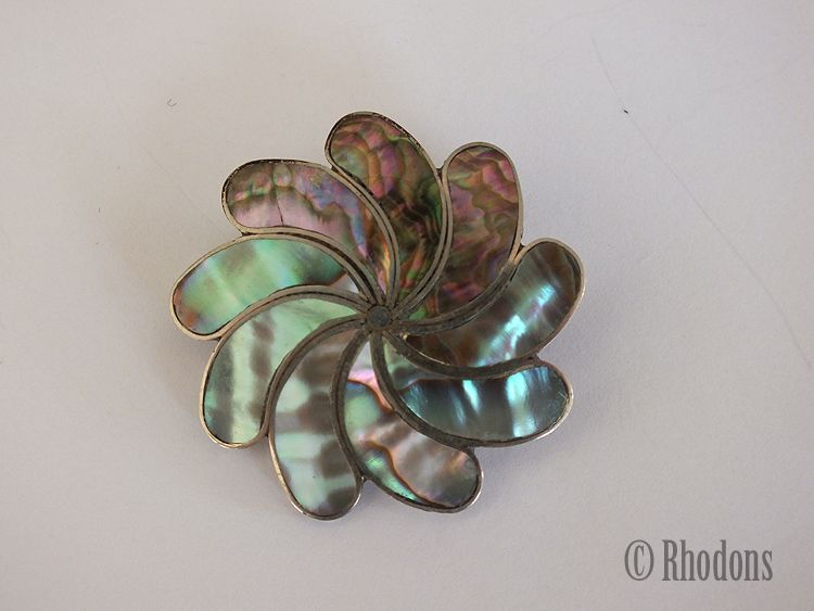 Alpaca Mexico Silver Brooch With Abalone Shell Inlays