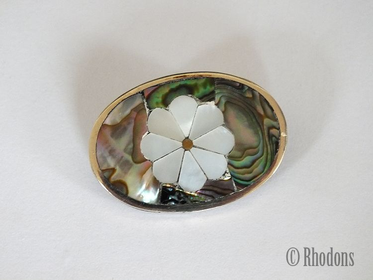 Alpaca Mexican Silver & Abalone Brooch With Flower Motif