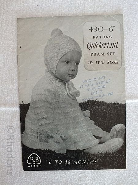 1950s Patons Quickerknit Baby Pram Set In 2 Sizes Knitting Pattern #690