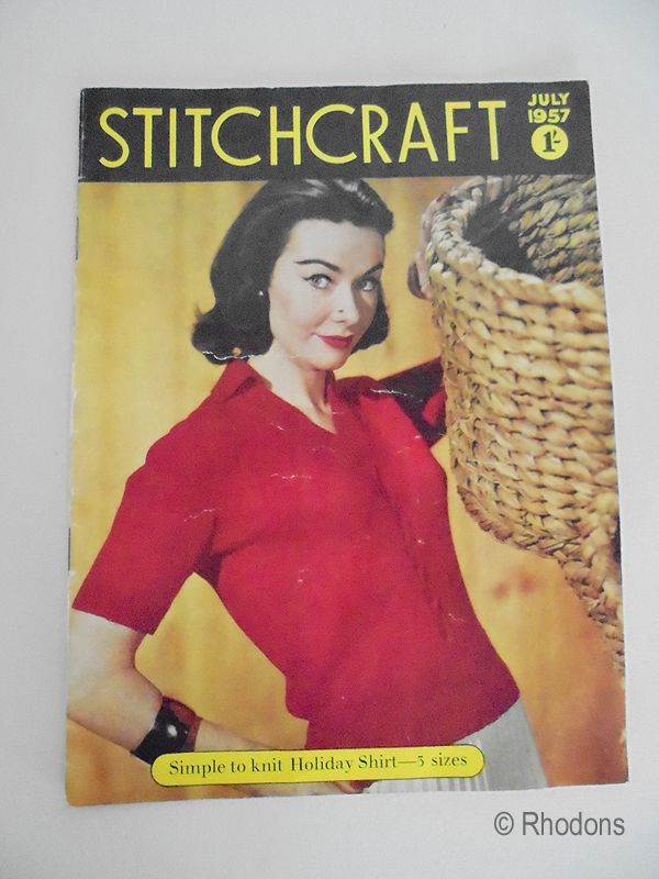 Stitchcraft Magazine, July 1957 Edition, Knitting Patterns Crochet, Adverts