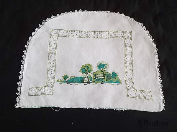 Linen Teacosy, Cottage Design With Hand Embroidery & Drawnwork