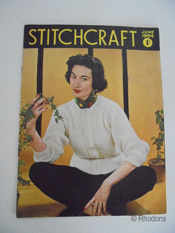 Vintage Stitchcraft Magazine, June 1954 Edition, Knitting Patterns Crochet, Adverts