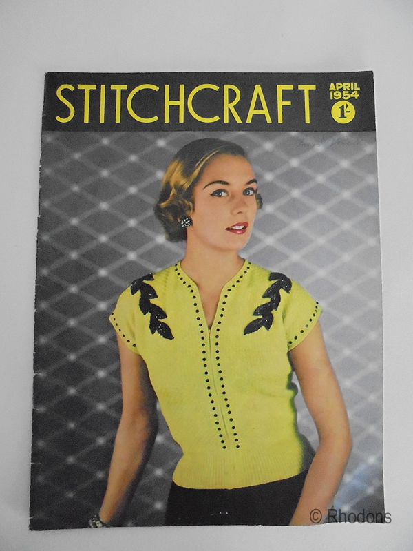 1954 Vintage Stitchcraft Magazine, Knitting Patterns, Crochet, Contemporary Advertising