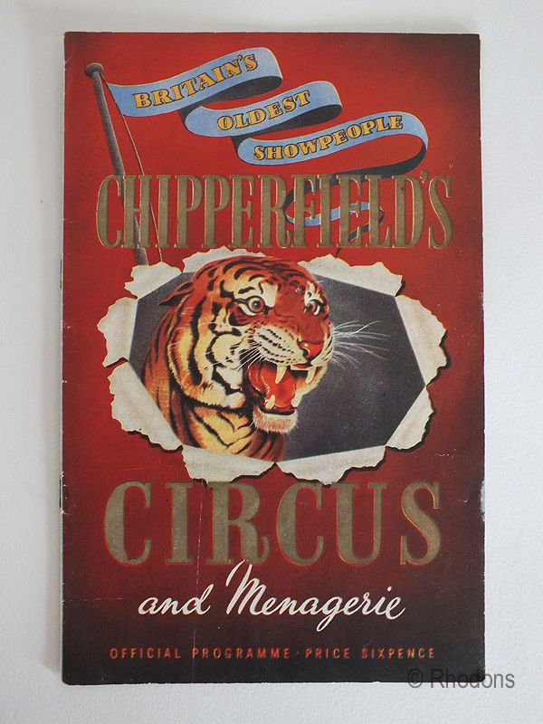 Chipperfields Circus And Menagerie Official Programme, 1950s