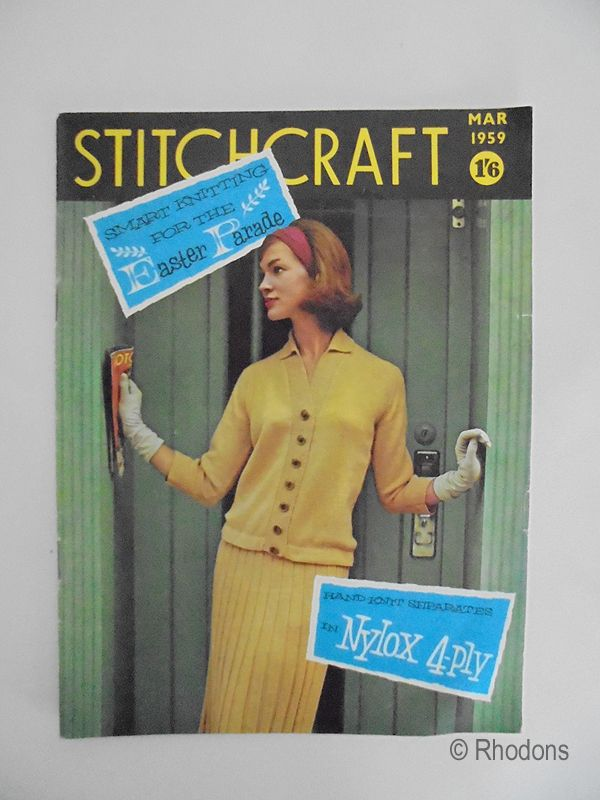 Stitchcraft Magazine, Knitting Easter Patterns Crochet, Contemporary Adverts. March 1959 Edition