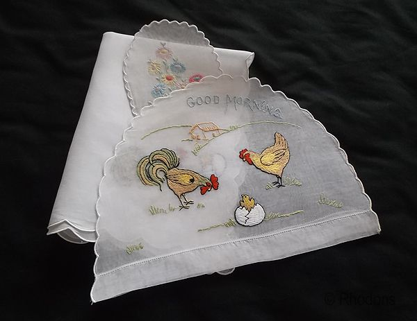 Embroidered Good Morning Set, Teacosy, Egg Cosy and Table Mat - Rooster Motif