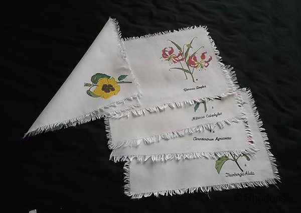 Printed Linen Table Place Mats, Set, Floral Motifs