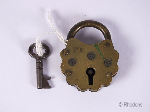 Brass Padlock With Key. Victorian Era, Circa Late 1800s.