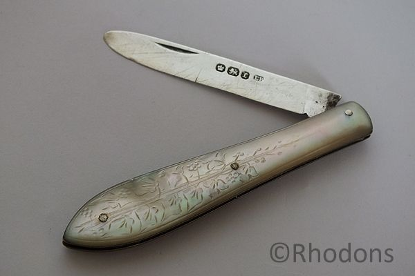 MOP & Silver Folding Fruit Knife, Edmund Bell 1895