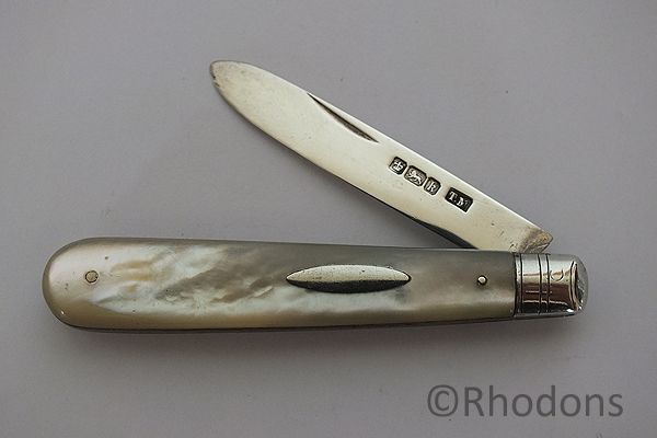 Antique Thomas Marples MOP & Silver Folding Fruit Knife