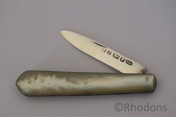Silver & MOP Folding Fruit Knife, Thomas Marples, Sheffield, England. Late 1800s