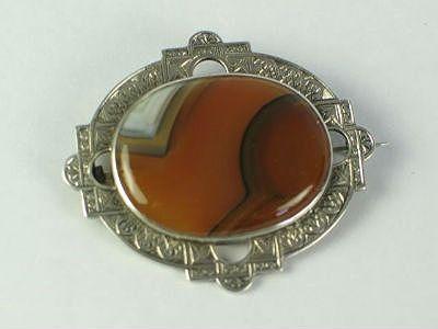 Victorian Scottish Silver & Lace Agate Brooch