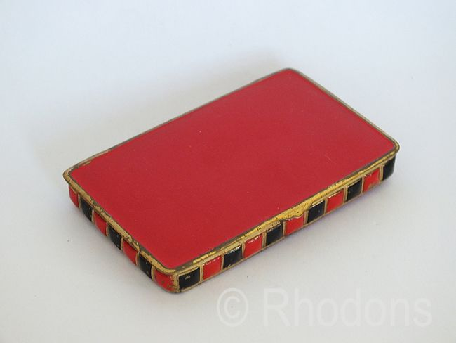 Old Tin Box, Red & Black Enamels. Early / Mid 1900s