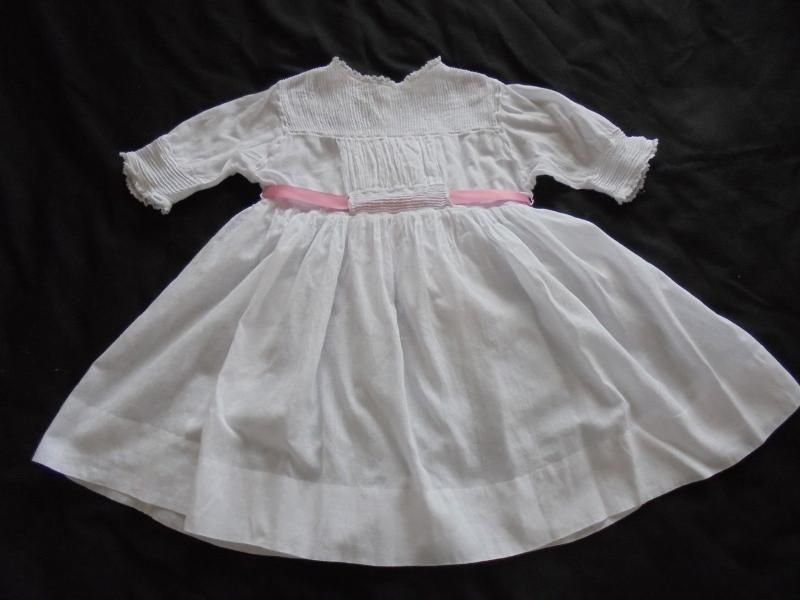 Handmade Victorian Baby Dress With Lace & Fine Pintucks c1890s