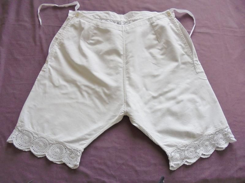 Antique Bloomers Pantaloons, Broderie Anglaise, Fleece Lined