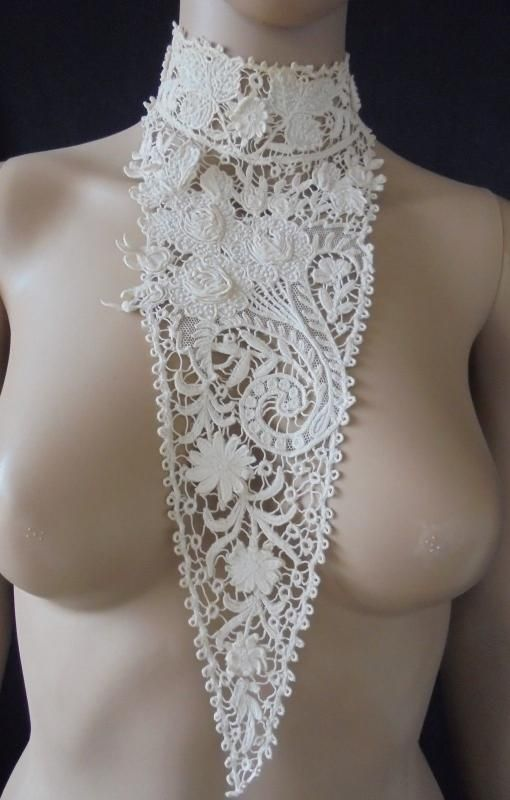 Victorian High Neck Collar & Bodice With Lace & White Work
