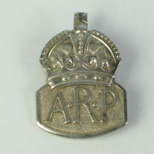 Silver A.R.P. Air Raid Precaution Lapel Badge Hallmarked 1939
