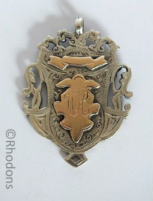 Antique Sterling Silver & Rose Gold Fob Medal, Monogram WAC / Chisholm