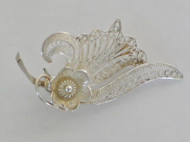 Silver Filigree Pin Brooch, Flower & Leaf Design, Circa 1950s / 1960s