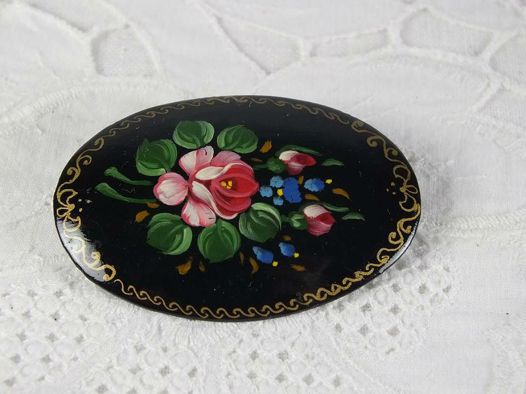 Russian Laquered Pin Brooch, Floral Design