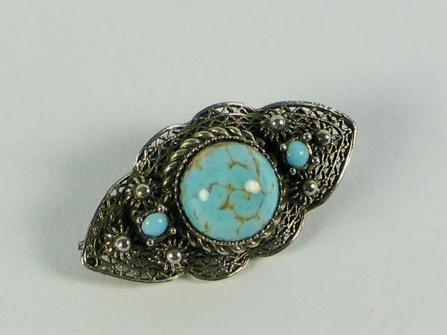 Filligree Silvertone Faux Turquoise Brooch, Early To Mid 1900s