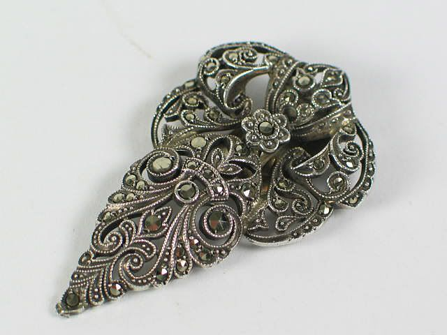 Antique Silver Marcasite Dress Clip