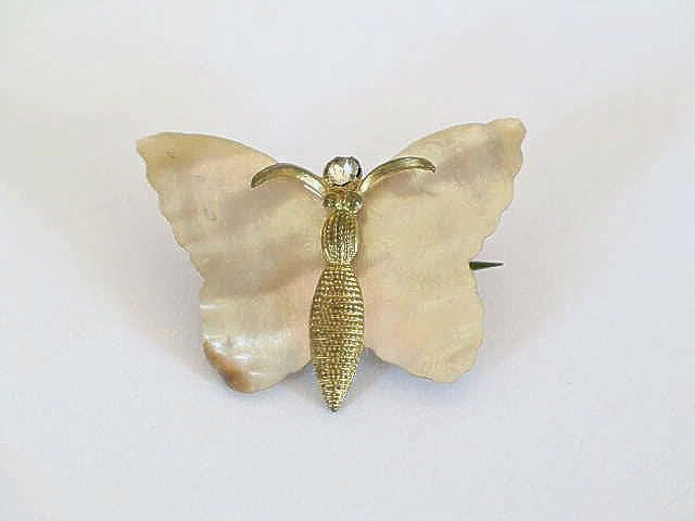 Butterfly Pin Brooch, Mother Of Pearl & Gilt