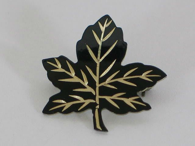 Canadian Maple Leaf Brooch, Silver & Black Enamels, Circa 1950s
