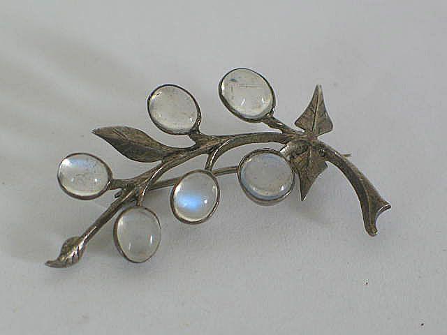 Moonstone Leaf Brooch, Circa 1970s