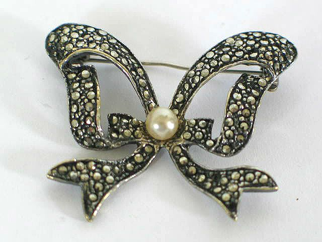Marcasite With Faux Pearl Bow Brooch, Circa 1930s / 1940s
