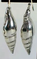 Silver Conch Shell Drop Earrings, Mid 1900s