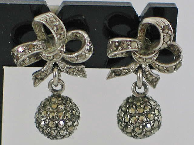 Marcasite Earrings, Bow & Ball Drops