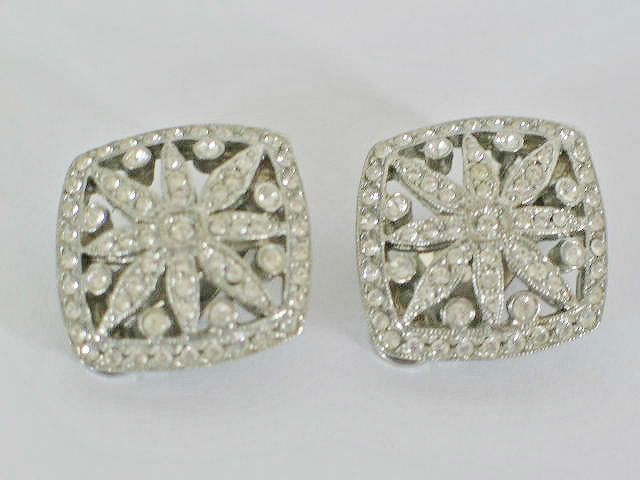 Vintage Rhinestone Clip On Earrings, 1950s
