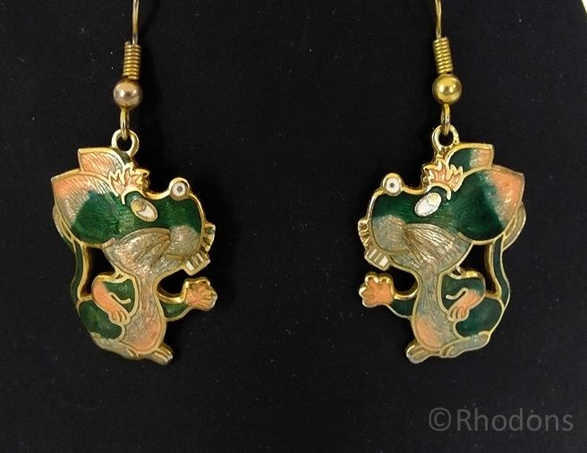 Novelty Enamel Mice Earrings By Sea Gems, Circa 1980s
