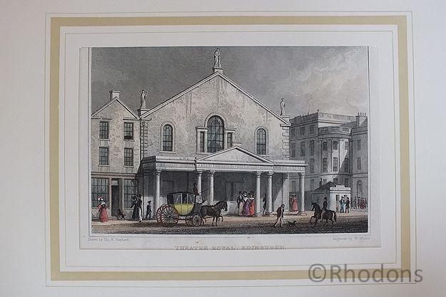 Theatre Royal, Edinburgh, 19th Century Colour Tinted Print. Engraving by W Wallis after T H Shepherd